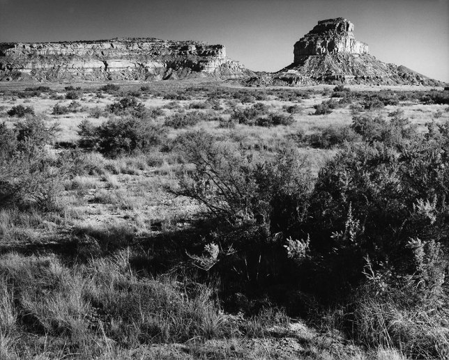 Fajada Butte is the most recognizable natural feature at Chaco Canyon. To its left is Chacra Mesa.