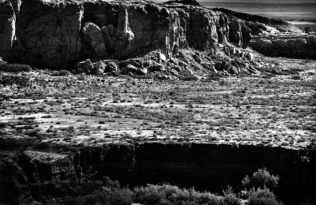 Morning light creates depth in this black-and-white rendering of Rio San José near New Mexico highway 6.