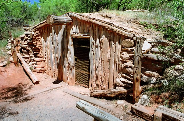 This is a replica of the one-room dugout built by Charles Goodnight in Palo Duro Canyon in the fall of 1876.