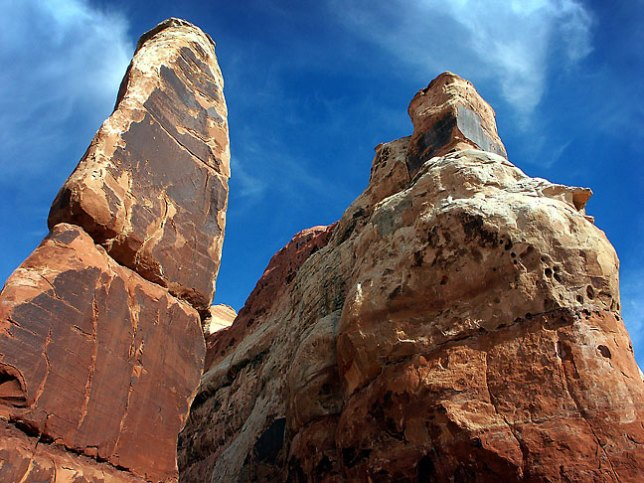"Cedar Mesa sandstone ""needles"" stand in Chesler Park, deep in the heart of the Needles district."