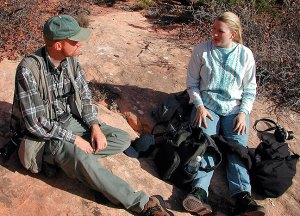 Jamie and I rest on the Chesler Park trail at Canyonlands.