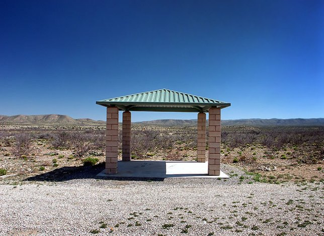 I saw this lone, seemingly purposeless gazebo on the road to Sitting Bull Falls.