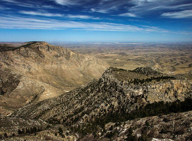 This view from near the summit of Guadalupe Peak shows Hunter Peak on the left.