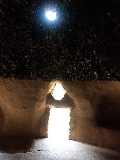 View inside restored cliff dwelling, Bandelier National Monument