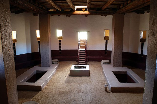 The reconstructed great kiva at Aztec Ruins National Monument, Aztec, New Mexico