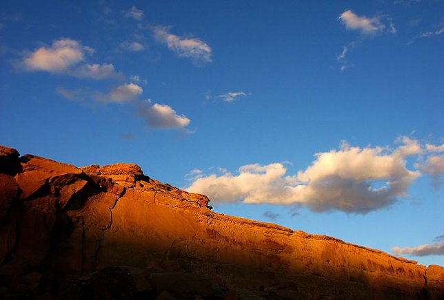 Last light falls on the canyon walls near Pueblo Bonito Great House at Chaco Culture National Historical Park.