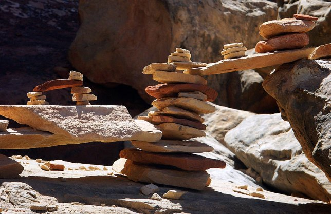 Constructed trail cairn, Druid Arch, Canyonlands National Park