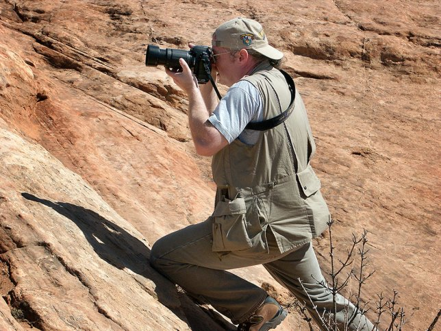 Michael makes images at the Delicate Arch Viewpoint at Arches National Park.