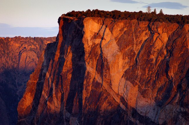 "The ""serpent"" of Serpent Points is very obvious in this view of Black Canyon of the Gunnison at first light."
