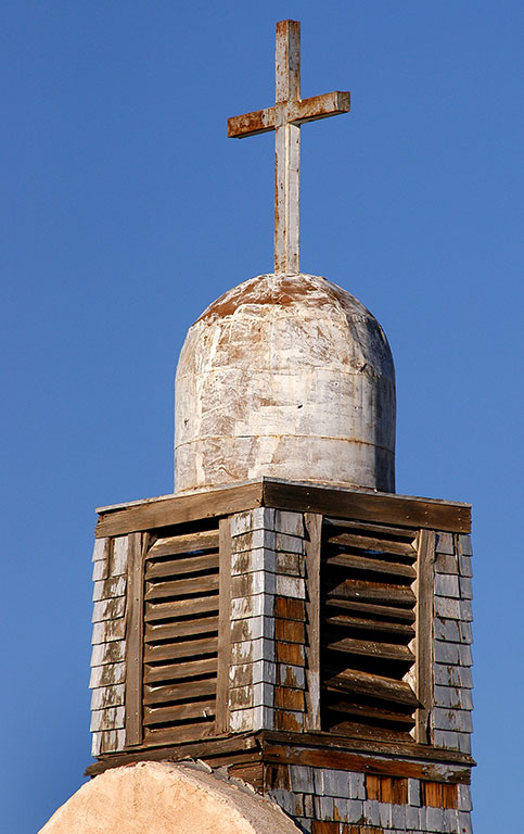 The weathered steeple at this church in San Ysidro, New Mexico is quite photogenic.