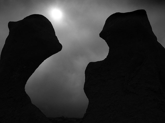 With a thin stratus layer obscuring the sun, I elected to shoot Goblin Valley in black-and-white.