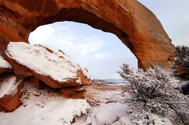 The snow on Wilson Arch also meant I would have the place to myself, and the snow would be undisturbed.