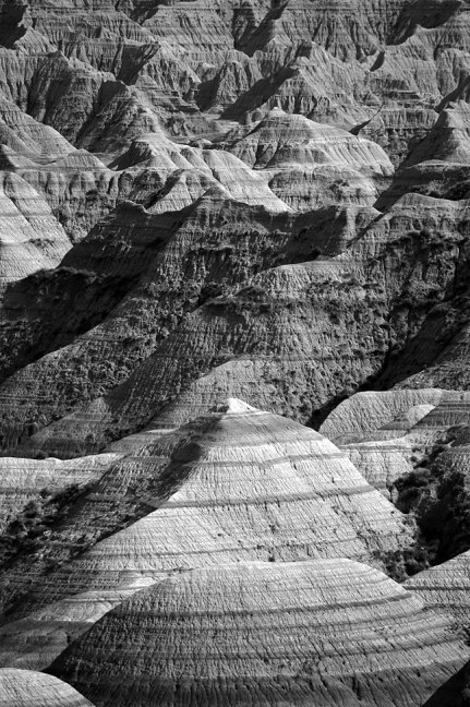 This telephoto view of Badlands National Park shows the depth of the erosions from which the park gets its name.
