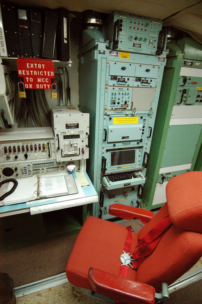 This view of a control station at Minuteman Missile shows the controls panel and the chair, which is bolted to a rail on the floor to help the crew ride out an attack.
