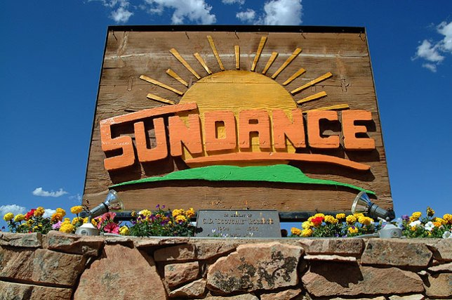 This welcome sign greets visitors to Sundance, Wyoming.
