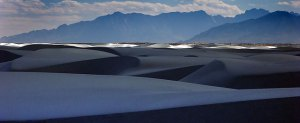 White Sands National Monument is shown with the San Andres Mountains in the distance.