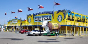 One of the campier sites along the road west is The Big Texan, where you can have a free 72-ounce steak if you can eat it within an hour.