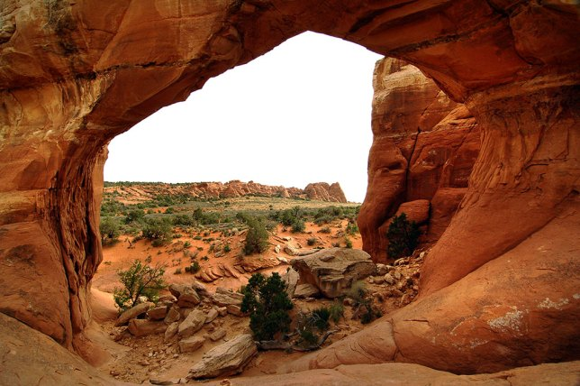 This view looks through the opening of Broken Arch.
