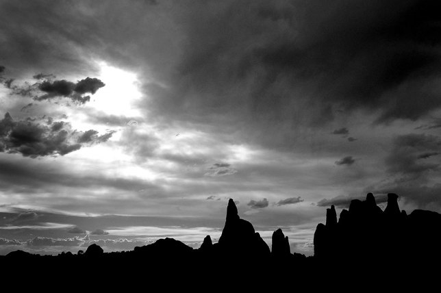 For a while the sky looked quite dramatic as I hiked at Arches National Park.