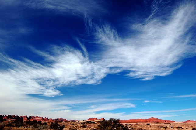 Early in my Canyonlands hike, the sky was a masterpiece of cirrus and blues.