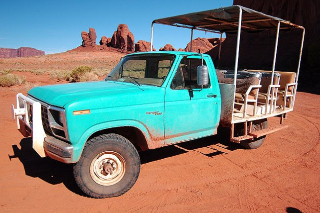 This was the luxury accommodation in Monument Valley, a 1970s era Ford F-150.