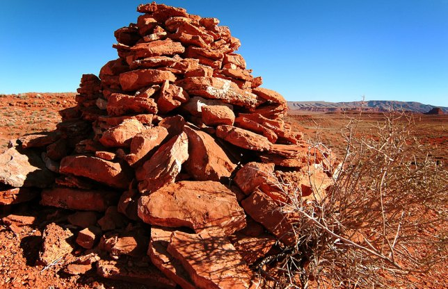 A large cairn sits by the road at Valley of the Gods. I don't know if it marked anything.