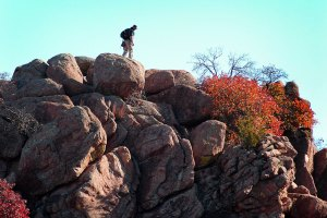 A lone hiker moves along a ridge at on The Narrows trail in November 2006.