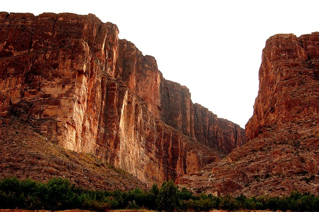 Santa Elena Canyon is a towering river cut created by the Rio Grande River.