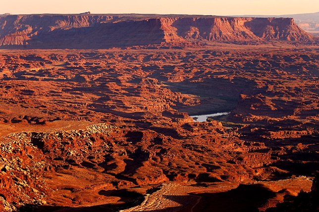Sunset over the Colorado River, Canyonlands, and Hatch Point from the Lathrop trail, Island in the Sky district, Canyonlands.