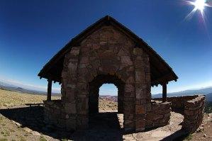 Fisheye view of shelter house, Brian Head Peak, Utah; the peak, at 11,307 feet, is just above the tree line.