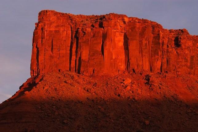 Wingate sandstone in Castle Valley takes in last light.