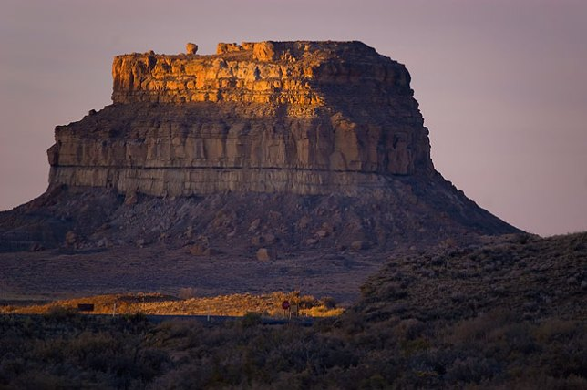 Fajada Butte shines at first light.