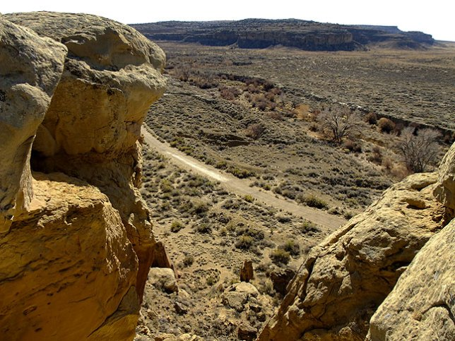 "This view from near the top of ""the crack"" shows the Pueblo Alto trail, Chaco Wash, and the edge of the Kin Kletsin great house."