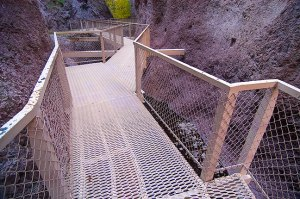 """The heart of """"The Catwalk"""" is a trail that follows Whitewater Creek through narrows. The Catwalk itself was originally constructed by silver miners."""