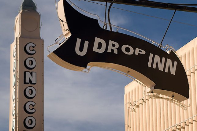 Sign at the historic Conoco Tower in Shamrock, Texas.