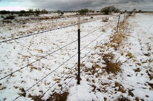 Snow dusted the rest area near the Llano Estacado escarpment in the Texas Panhandle.