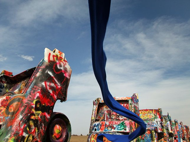 Blue scarf in the wind, Cadillac Ranch.