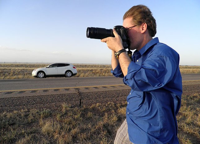 Robert makes an image of Interstate 40 in eastern New Mexico.