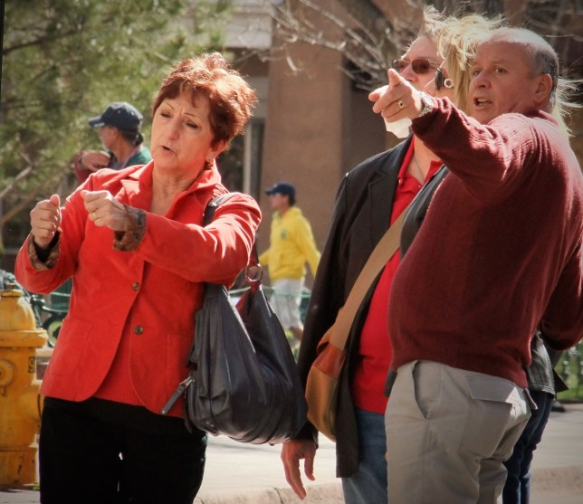 Here is another group of well-dressed Santa Fe tourists.