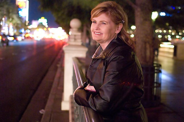 Abby watches the lights in the heart of the Las Vegas Strip.