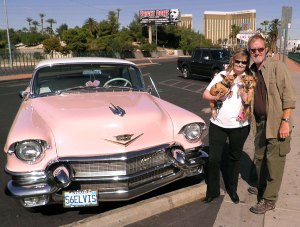 "Abby, the dogs, and I pose with a pink Cadillac belonging to Elvis ""Eddie Powers"" Presley at the Welcome to Fabulous Las Vegas sign as we were leaving town."
