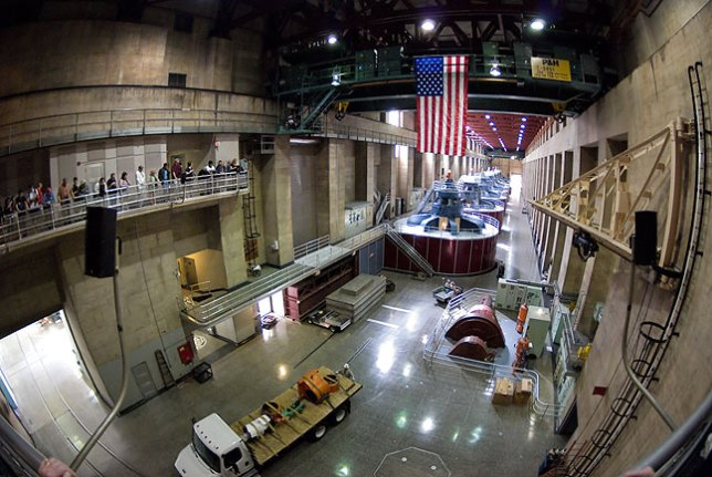 I don't want to bore anyone with requisite shots of the generator room at Hoover Dam, so I shot this one with my fisheye lens.