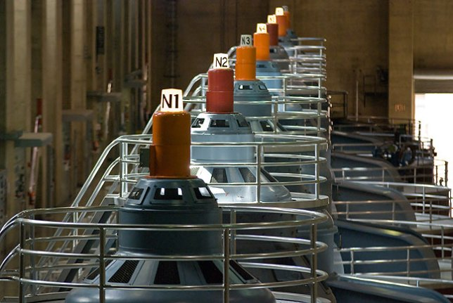 No Hoover Dam travelogue would be complete without this shot of the generators.