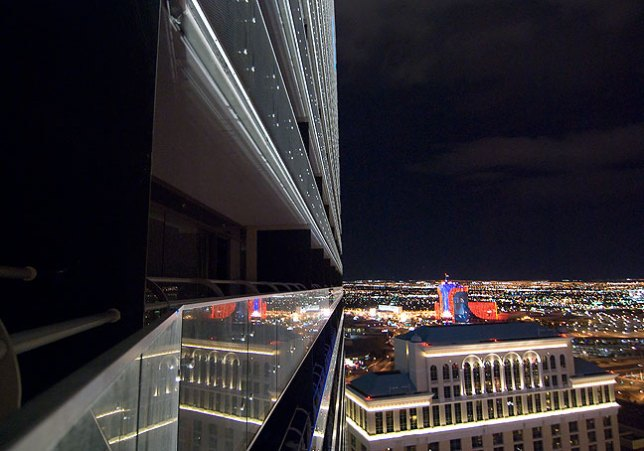 The Rio Hotel and Casino is reflected in mirrored sufaces of The Cosmopolitan, Las Vegas.