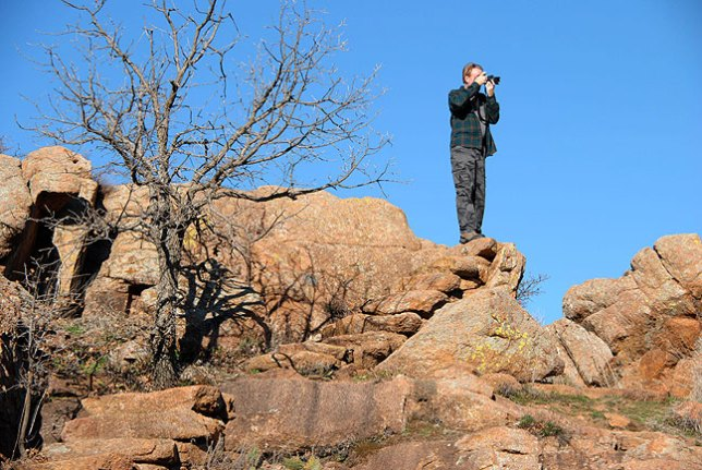 Abby photographed me on a hilltop overlooking Quanah Parker Lake Dam.
