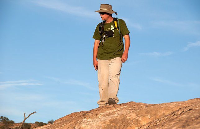 A combination of his posture and the backcountry setting makes Dennis look like an outdoor badass in this image.