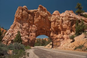 This handsome manmade arch is a road bridge in Red Canyon just west of Bryce Canyon National Park.