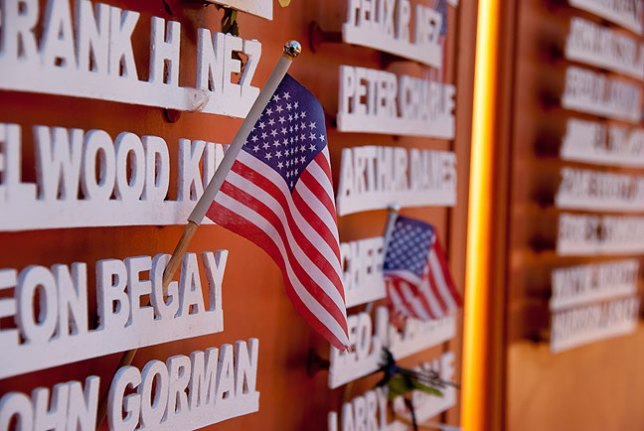 Because it was Memorial Day, the wall at Window Rock Navajo Tribal Park had been adorned with small U. S. flags in honor of fallen soldiers from the Navajo Nation.