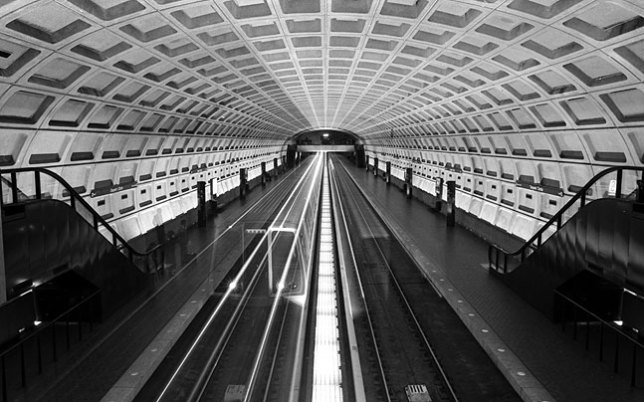 This is one of my images of Washington, D. C.'s Metro subway (the Georgetown station) from 1985. Compare it to...