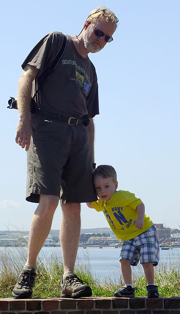Abby shot this photo of Paul and me exploring Fort McHenry. It really emphasizes how small he was.